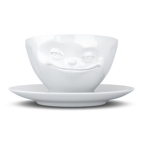 """Kaffee Tasse """"Grinsend"""" in weiß 200ml"""