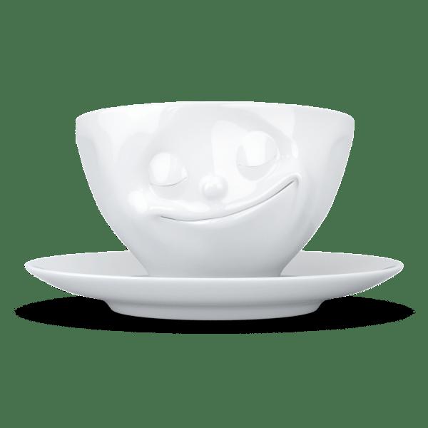 """Kaffee Tasse """"Glücklich"""" in weiß 200ml"""