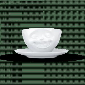 """Schmunzel Kaffee Tasse NEU """"Lachend"""" in weiß 200ml"""