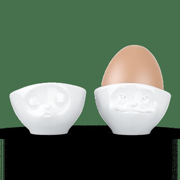 """Eierbecher-Sets """"Küssend & Verträumt"""" in weiß"""
