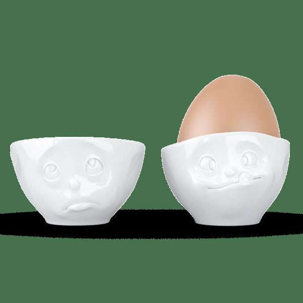 """Eierbecher-Sets """"Och Bitte & Lecker"""" in weiß"""